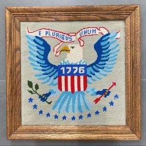 Vintage Bald Eagle E Pluribus Unum Cross Stitch